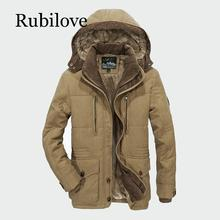 Rubilove Men Winter Coats Fleece Warm Thick Jackets Men Outerwear Windproof Casual Coat With Hooded Mens Parkas Plus size winter warm military jackets coats men 2019 casual fashion thick thermal fleece hooded jacket coat outerwear