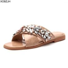 Dubai Designer Flat flop Shoes Leather Slippers Women Luxury 2019 G mules Summer Slipper Brand rhinestone G Sandals Shoes Woman