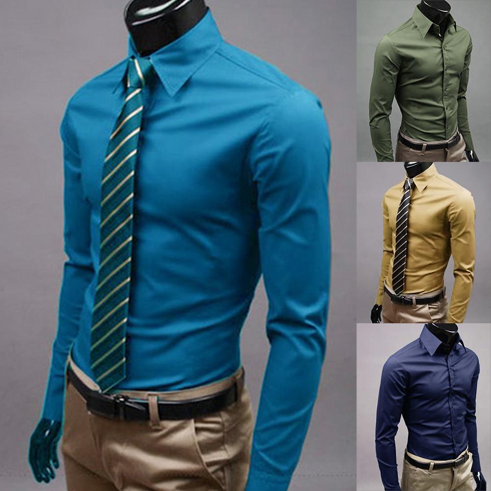 Men Dress Shirt 2019 Winter New Fashion Men Solid Color Business Long Sleeve Men Button Turn Down Collar Shirt Top Polyester