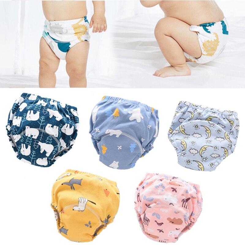 6 слоев водонепроницаемых многоразовых хлопковых детских тренировочных брюк, шорты для младенцев, нижнее белье, тканевые подгузники для мл...