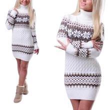 купить Women Christmas Style Turtleneck Sweater Dress Slim Fit Long Type Snowflake Pattern Sweater дешево