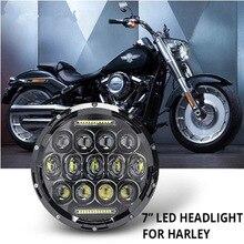 """Evrensel 7 """"Led araba motosiklet far H4 Phare Farol Moto far başkanı işık için Harley Softail Cafe Racer Chopper honda"""