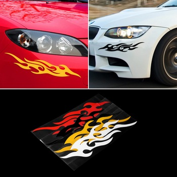 2pcs Universal Car Sticker Styling Engine Hood Motorcycle Decal Decor Mural Vinyl Covers Accessories Auto Flame Fire & Hot image