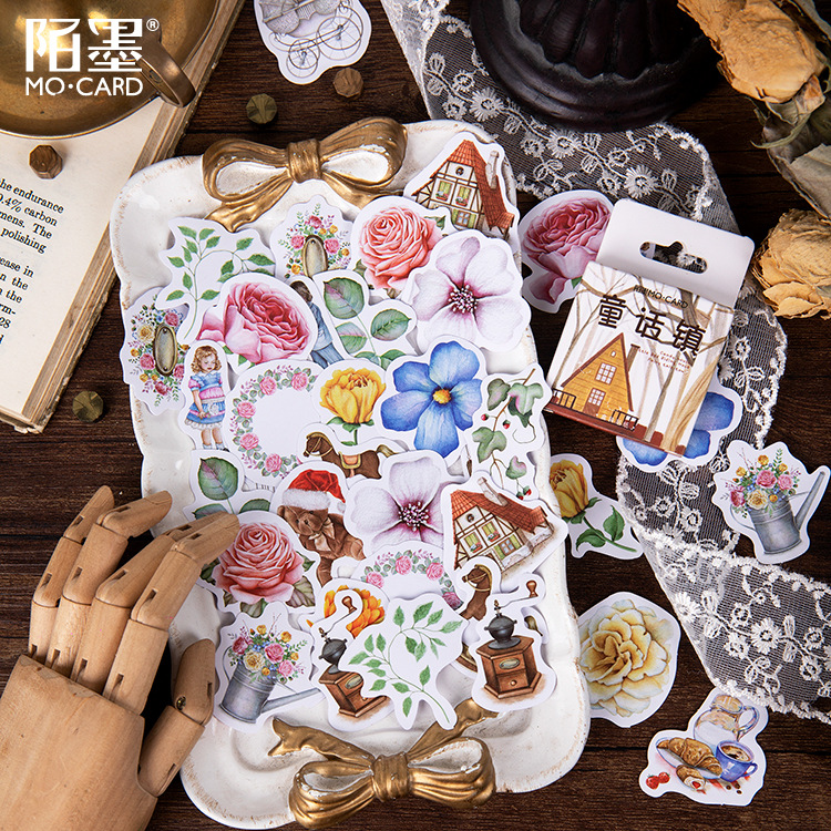 Mohamm 45 PCS Boxed Stickers Fairy Tale Town Cartoon Flower Decoration Sticker Flakes Scrapbooking School Supplies