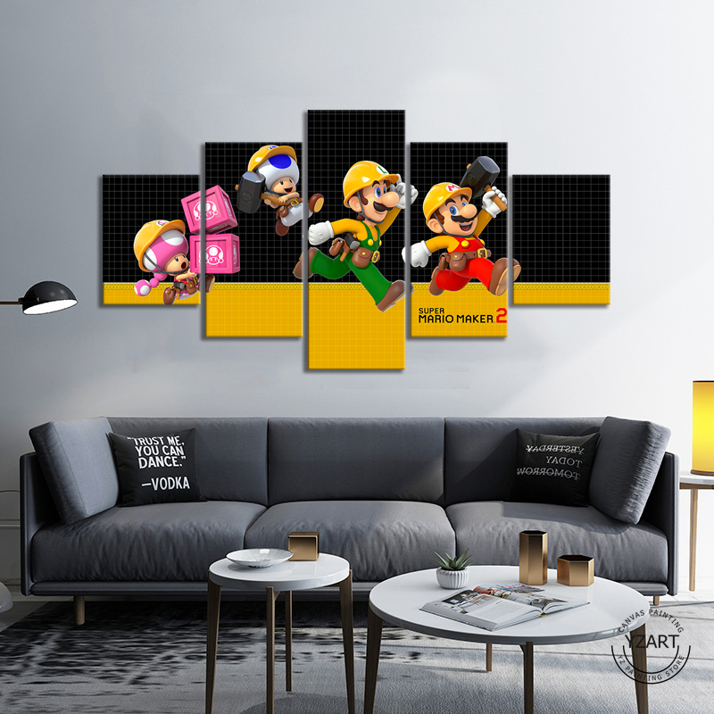 SUPER MARIO MAKER 2 video game poster paintings mario games art HD wall picture canvas painting for bedroom wall decor 1