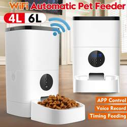 Wifi/ Button Version Pet Automatic Feeder 4L/6L Pet Food Dispenser APP Control Voice Recording LCD Screen Dog Food Bowls Timer
