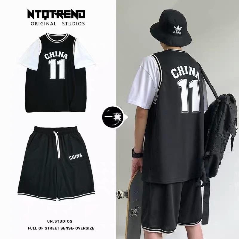 2020 Summer New Style Men's Wear Sports Set Popular Brand Short Sleeve T-shirt INS Shorts Trend Versatile Basketball Clothes