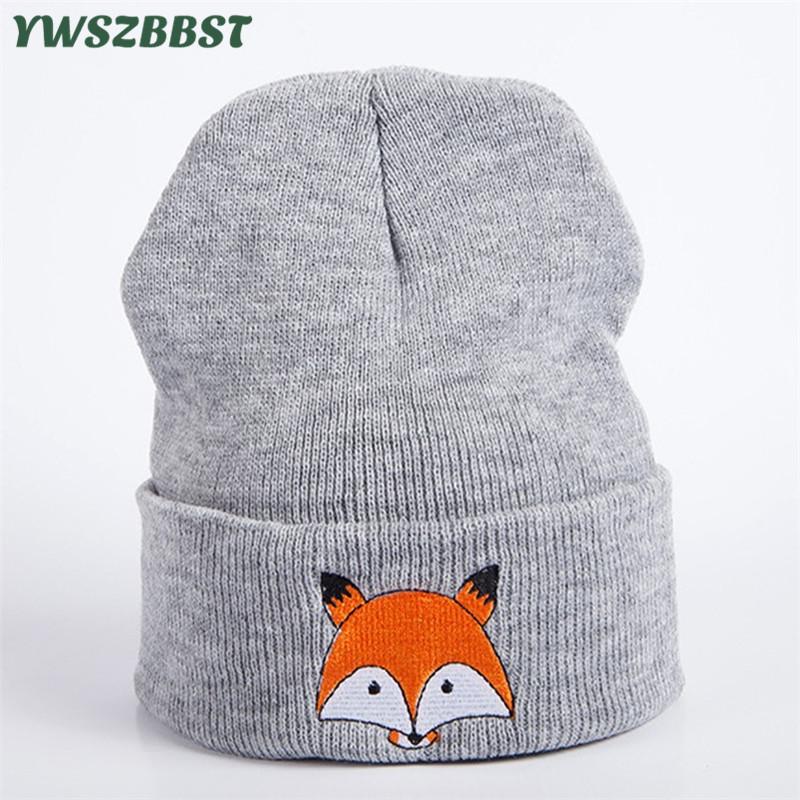 New Winter Beanies for Women Fox Smile Embroidery Outdoor Warm Crochet Skullies Hat Autumn Knitted Head Cap Women Beanies Cap
