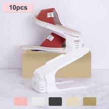 10pcs Adjustable Shoe Rack for Organizer Shoes Footwear Storage Stand Support Slot Space Saving Cabinet Closet Shoe Holder