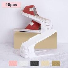 10pcs מתכוונן נעל Rack ארגונית נעלי הנעלה אחסון Stand תמיכת חריץ שטח חיסכון ארון נעלי ארון מחזיק