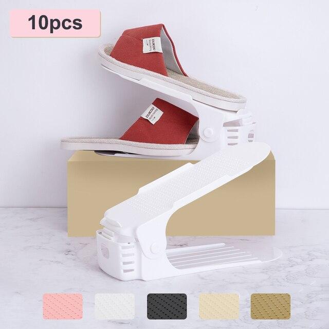 10pcs Regolabile Scarpiera per Organizer Scarpe Calzature di Immagazzinaggio Del Basamento di Sostegno Slot Per Risparmio di Spazio Cabinet Closet Shoe Holder