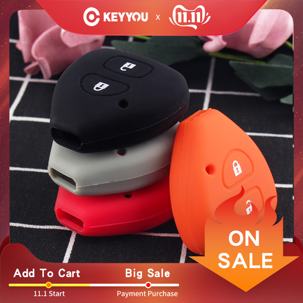 KEYYOU 2 Buttons Silicone Key Shell For TOYOTA Corolla Hilux Vitz Rav4 Aqua Camry Land Cruis Car-styling Remote Key Case Cover