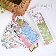 30 pçs/lote Bonito Gato Engraçado Em Forma de Presente do Marcador de Papel Filme de Papelaria Material Escolar Bookmarks Livro Titular do Cartão de Mensagem