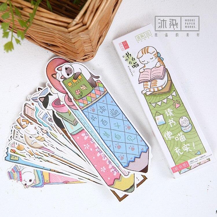 30 unids/lote de marcapáginas de papel con forma de gato bonito y divertido para regalo, material de papelería, marcapáginas de película, porta libros, tarjetas de mensaje, suministros escolares