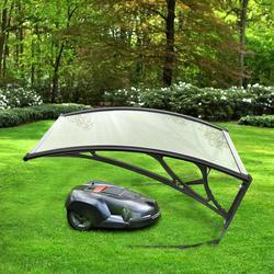 Auvent abri soleil auvent Garage toit Robot tondeuse à gazon facile à assembler noir argent HWC nuances ABS/livraison française 100X78Cm HWC