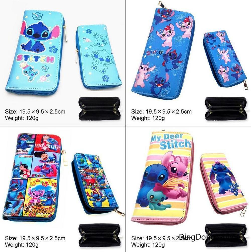 Cartoon Stitch Long PU Wallet Leather Zipper Purse Photo Card Holders Layers Coin Card Casual Cosplay Boys Girls Handbag Cute
