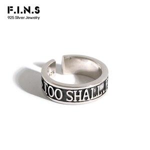 F.I.N.S koreański S925 srebrny pierścień Retro stary rzeźbione angielskie słowo pierścień otwierający Punk srebrny pierścień 925 biżuterii