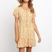 Summer Floral Printed Button V-neck Dress Short Sleeve Female Holiday Casual Bea