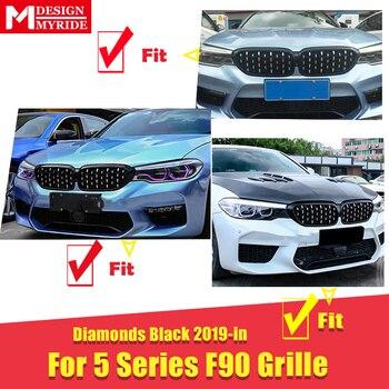 F90 M5 גריל גריל יהלומים סגנון ABS מבריק שחור מתאים עבור BMW M5 מראה F90 קדמי פגוש כליות גריל 1 זוג חדש עיצוב 2019-ב