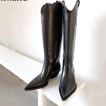 Западная пастушка; новые кожаные сапоги до колена с острым носком; женские зимние высокие сапоги на квадратном каблуке-рюмочке; ковбойские рыцарские сапоги
