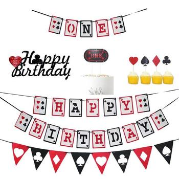 Casino Night Poker Happy Birthday Banner Las Vegas Playing Cards 1st One Garland Cake Toppers for Birthday Party Decoration image