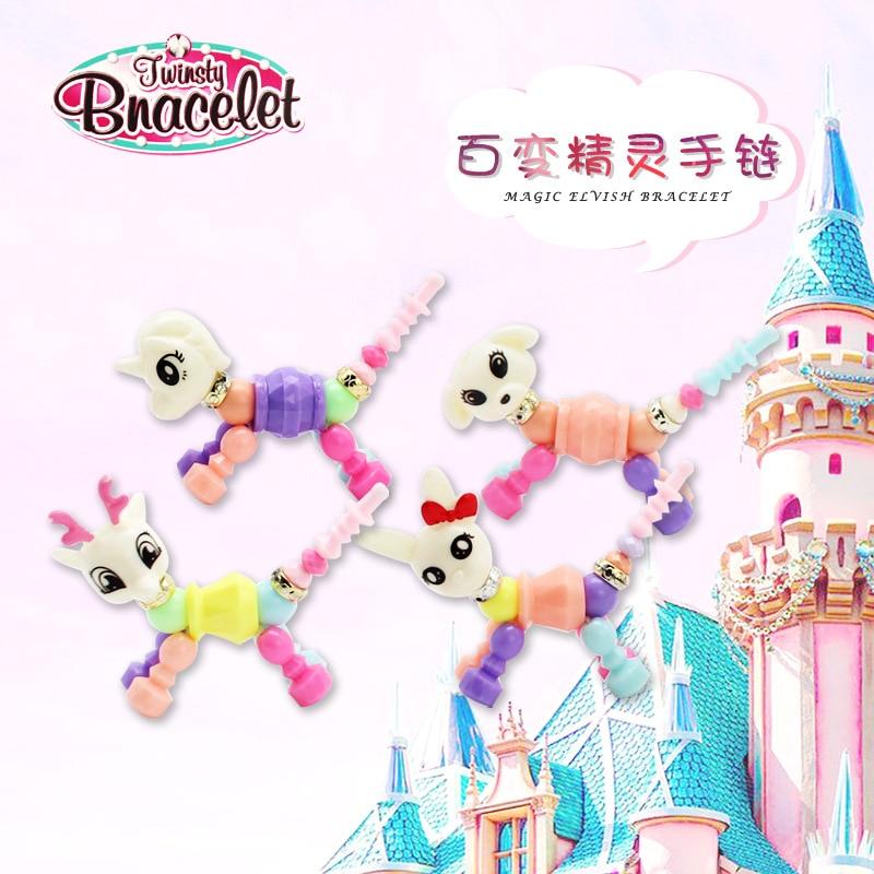 Girl'S Bao Bao Lian-Fairy Transformation Animal Combination Beaded Bracelet Educational Flexible Bracelets CHILDREN'S Toy Bracel