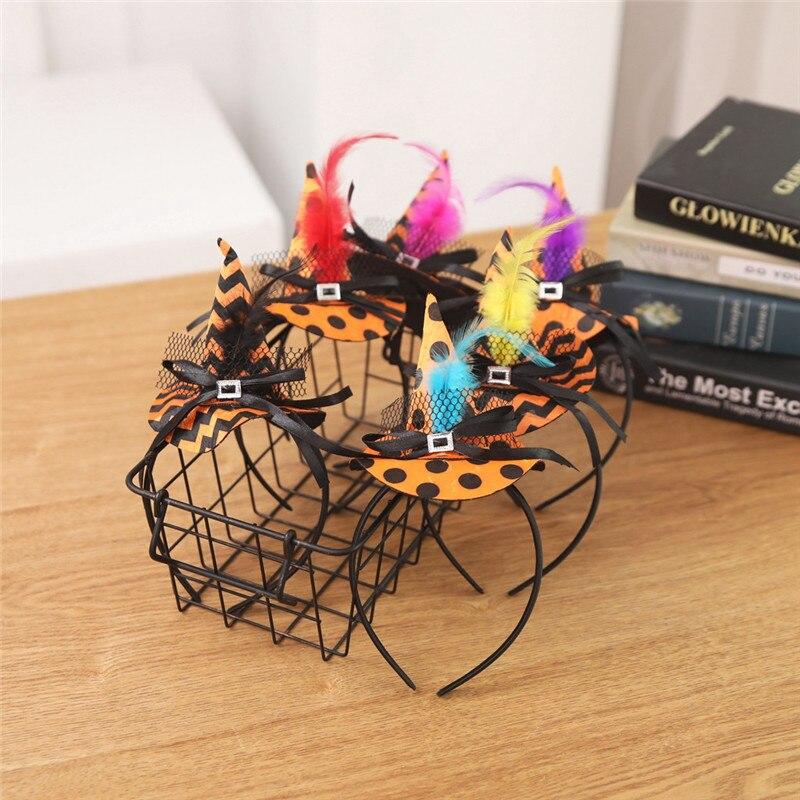 New Mini Witch Hat Headband Halloween Headbands For girls Fancy Dress Props Cosplay Party Gifts Headwear Kids 30Jul3113