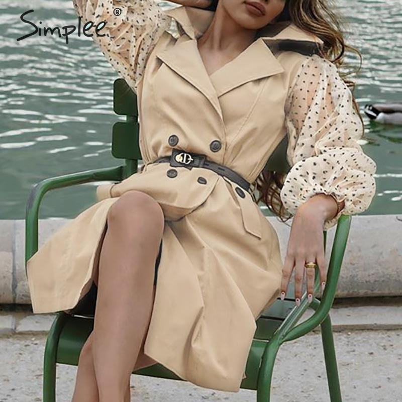 Simplee Chic Patchwork Women Trench Coat Polka Dot Transparent Puff Sleeve Female Overcoats Buttons Pockets Ladies Long Trenches
