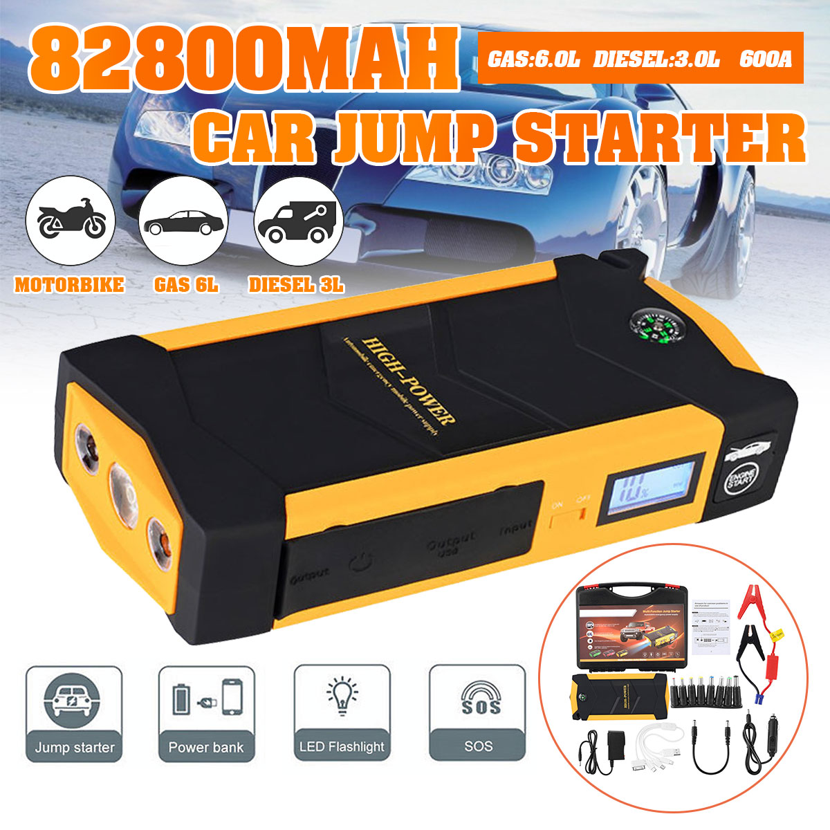 82800mAh Car Jump Starter Power Bank 600A Portable Car Battery Booster Charger 12V Starting Device Petrol Diesel Car Starter