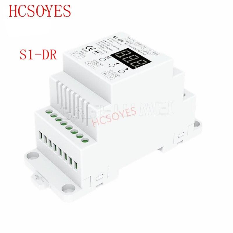 S1-DR AC100V-240V DIN Rail 2 Channel 2CH AC Triac DMX Dimmer, Dual Channel Output Silicon DMX512 LED Controller