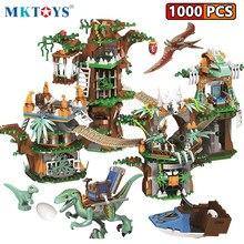 MKTOYS Jurassic Dinosaurier Welt Park 1000PCS Velociraptor Chase Baum Haus Bausteine Zahlen Bricks Creator Dinosaure Jouet