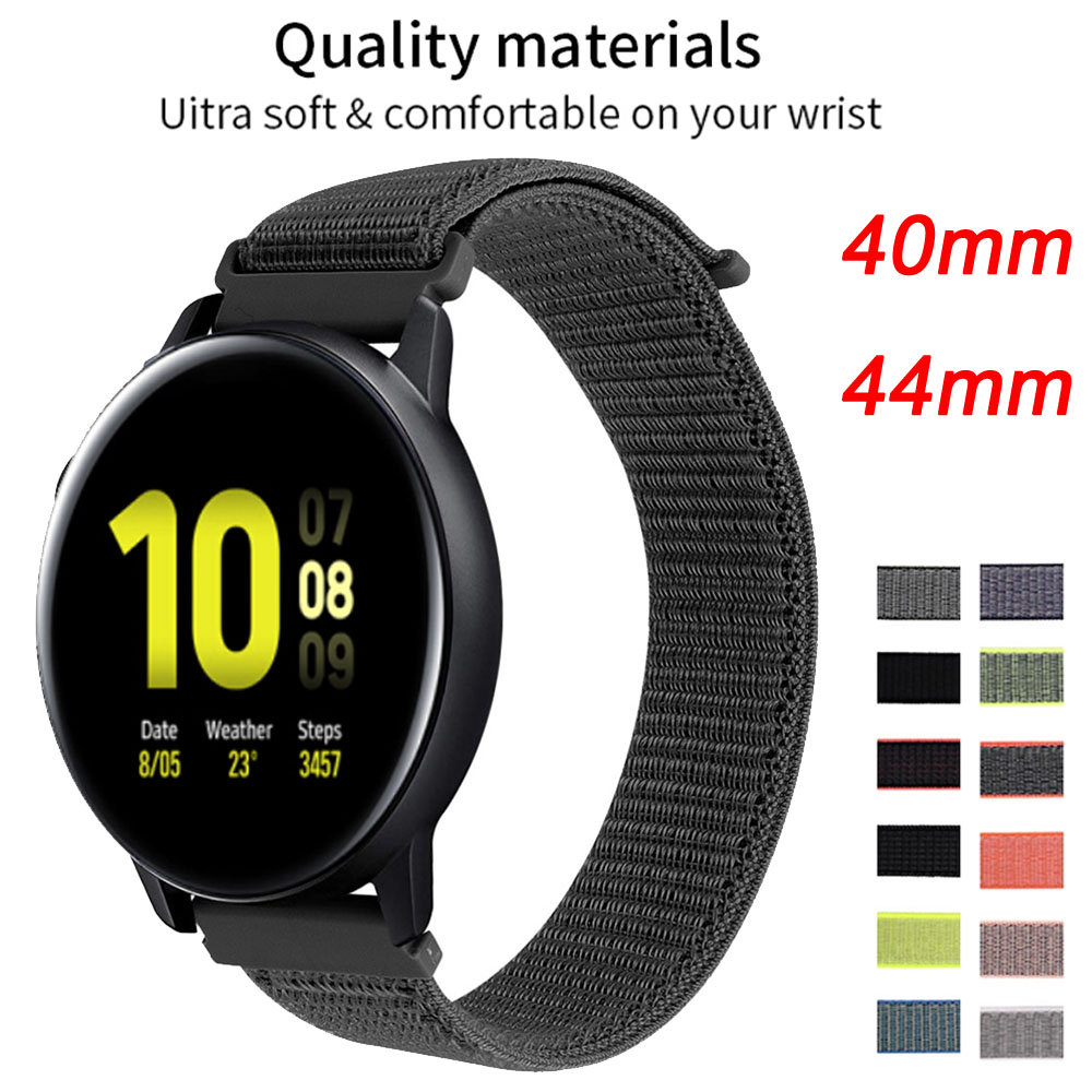 20mm Strap For Samsung Galaxy Watch Active 2 44mm 40mm 42mm Nylon Soft Breathable Replacement Band Sport Loop Watchband Active2