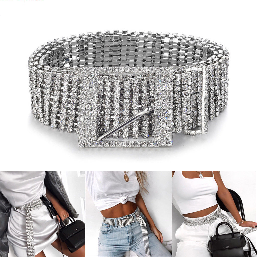 2019 New Silver Full Rhinestone Diamante Fashion Women Belt Sequins Corset Belt Harajuku Ladies Waist Charm Accessory Size Hot
