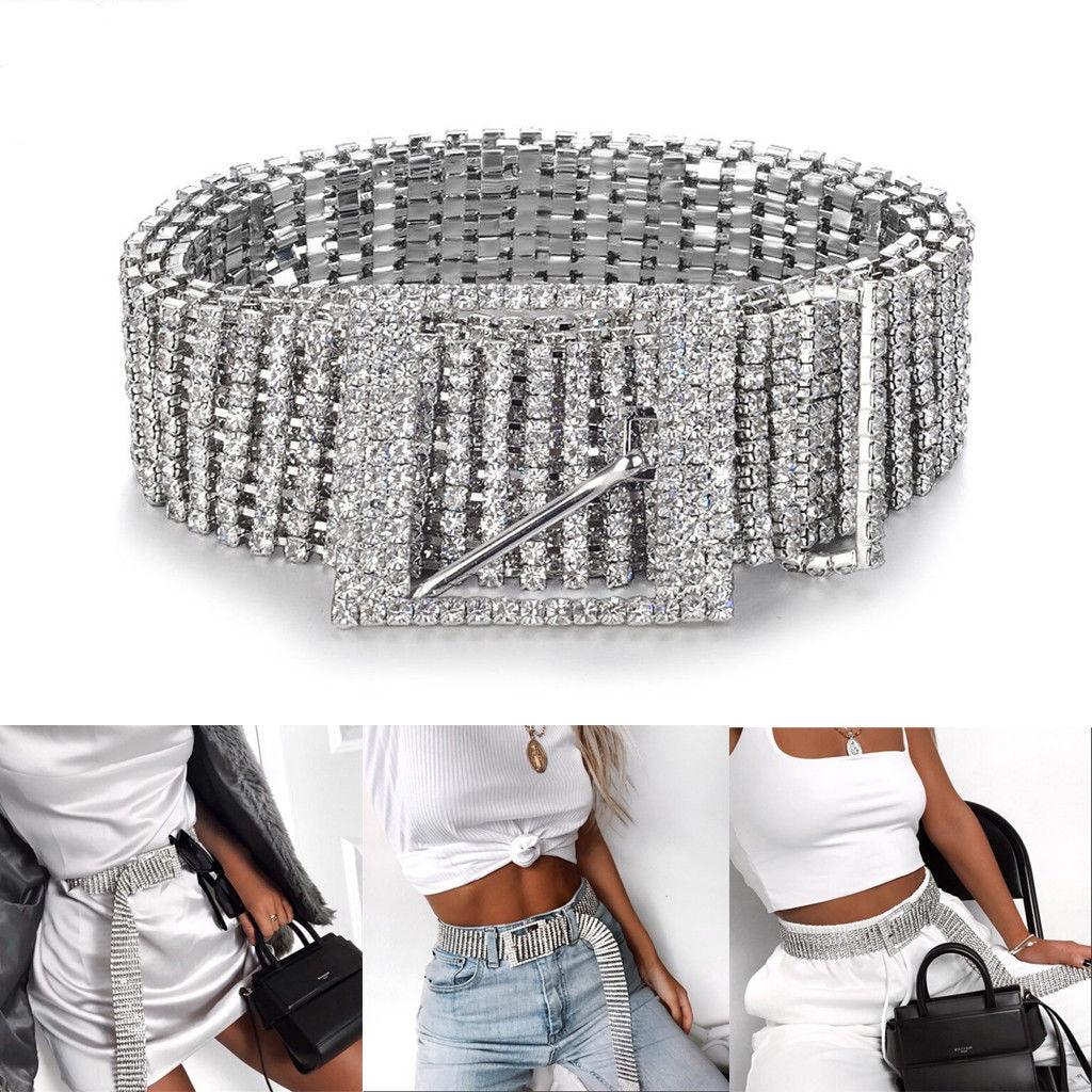2019 Nova Prata Completa Rhinestone Diamante Moda Feminina Lantejoulas Cinto Corset Cinto Harajuku Senhoras Cintura Charme Acessório Tamanho Quente