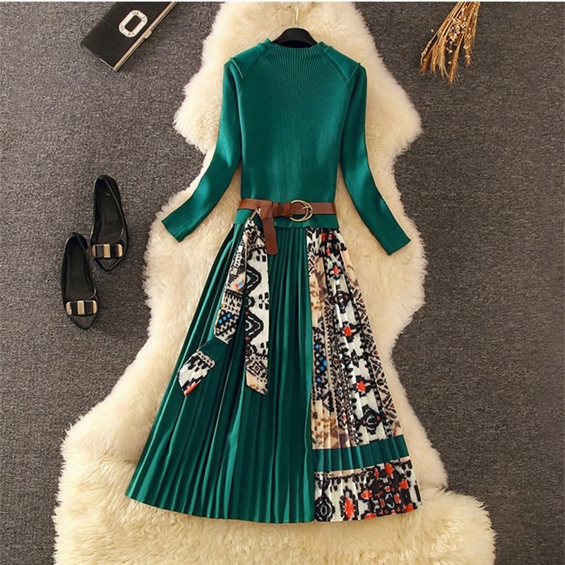 Elegant Knitted Patchwork Pleated Midi Dress 2019 Fall Winter Fashion Women Long Sleeve Ethnic Retro Printing Pleated Dress