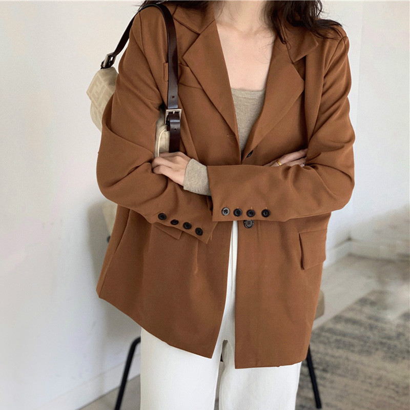 Drop Shipping Casual One Button Women Blazer Solid Double-breasted Women Suit Jacket Loose Female Outwear Blaser Femininas 2019