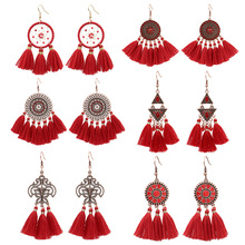 Luokey Vintage Red Long Tassel Fringe Dangle Drop Earring Popular Chinese Style Earings For Women Ethnic Wedding Brincos Jewelry luokey vintage red long tassel fringe dangle drop earring popular chinese style earings for women ethnic wedding brincos jewelry