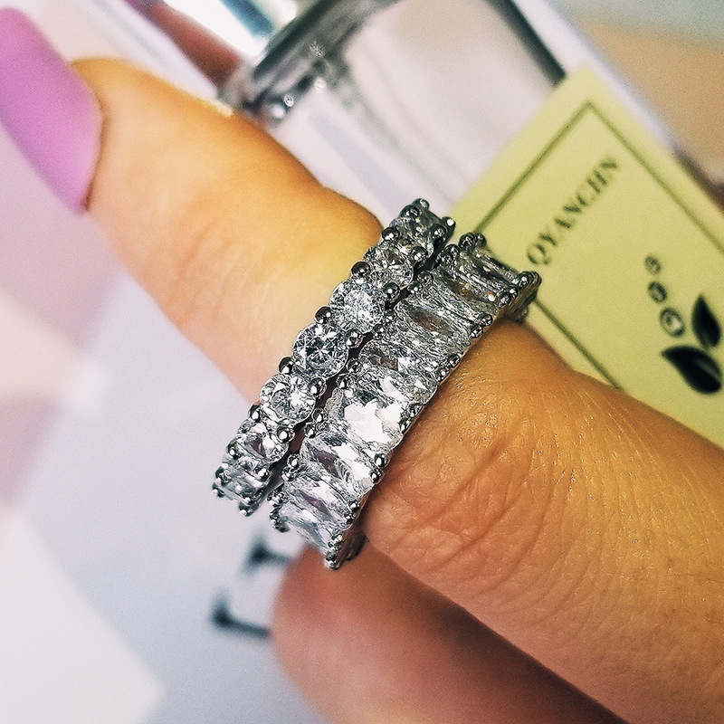 Original 925 Sterling Silver Wedding Rings Set Band Ring For Women Engagement Bridal Fashion Jewelry Finger Moonso R5726