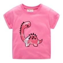 Atlama metre üst marka boncuk dinozorlar kızlar pamuk T shirt yaz çocuklar için giyim moda tasarımları çocuklar Tees Tops