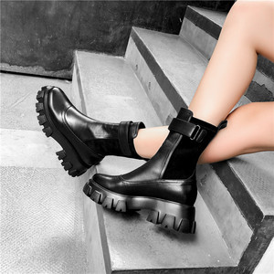 Image 4 - FEDONAS Chunky Heels Platform Boots Winter New Genuine Leather Women Ankle Boots Party Night Club Shoes Woman Motorcycle Boots