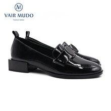 Vair mudo mulher bombas sapatos de salto baixo couro patente preto clássicos dedo do pé redondo casual primavera outono estilo básico sapatos femininos d103