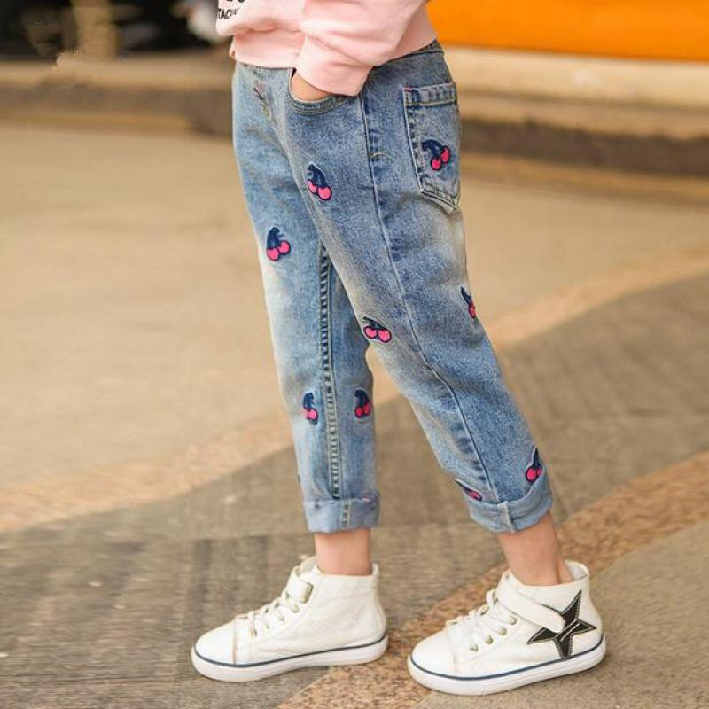 Girls autumn winter cherry printed denim pants kids jeans kids trousers for teenagers ripped jeans 3-12Years 1