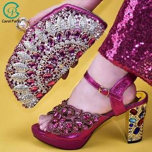 Image 3 - Senhoras sapatos e bolsas italianos para combinar conjunto decorado com apliques senhoras sapatos com saltos nigerianos sapatos de casamento feminino bombas