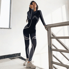 Women's Winter Sports Fitness Set High Waist Long Sleeve Print Line Top+leggings Female Black Mujer Yoga Gym Workout Suit 2020