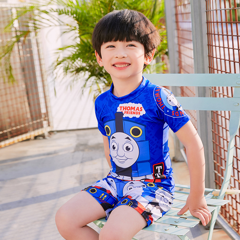 New Style KID'S Swimwear BOY'S Fashion Cute Cartoon Train Thomas Boxer Split Type Two-Piece Swimwear