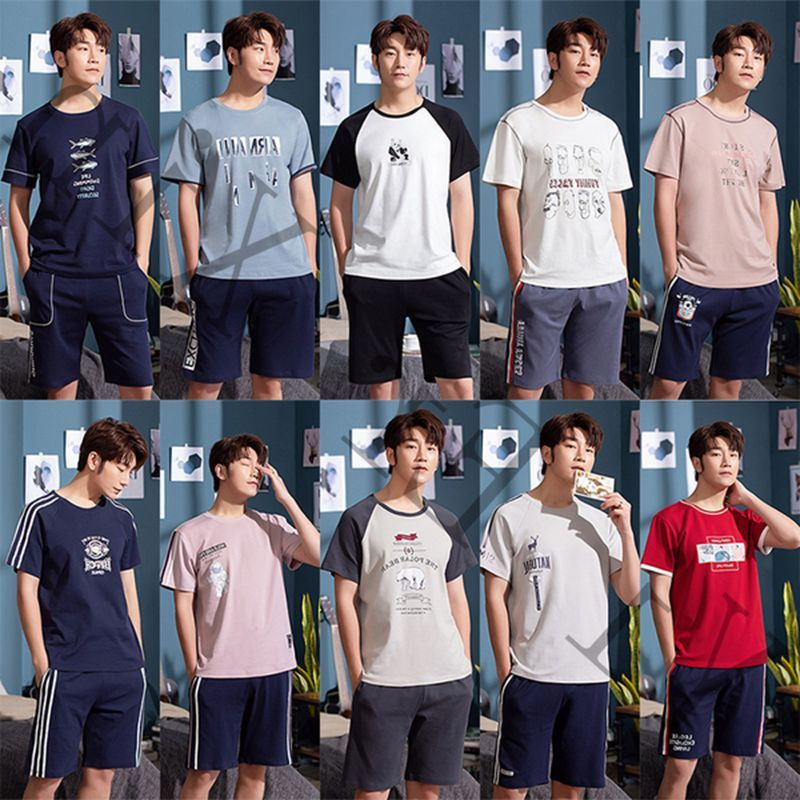 Pijamas Hombre Young And Middle-aged Men Summer Short-sleeved Cotton Pajamas Cute Loose Fertilizer Increased Leisure Wear Suits