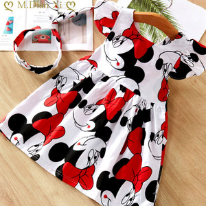 2020 New Fashion Baby Girls Dress Summer Dress Cartoon Minnie Mouse Dress Princess Dress Children's Girl Clothing 1-6 Years