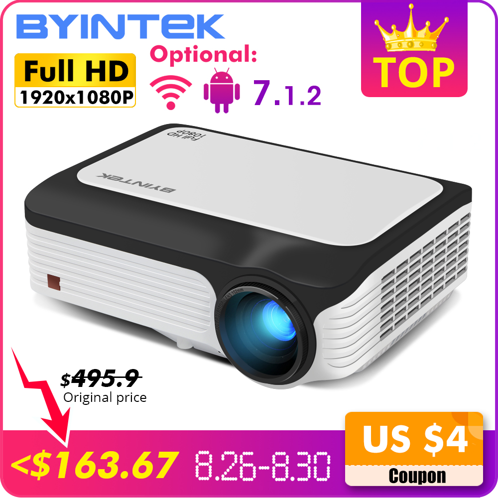 BYINTEK M1080 Inteligente (2GB + 16 GB) android WIFI FULL HD 1080P LED Portátil Mini Projetor 1920x1080 de Vídeo LCD Para Iphone SmartPhone