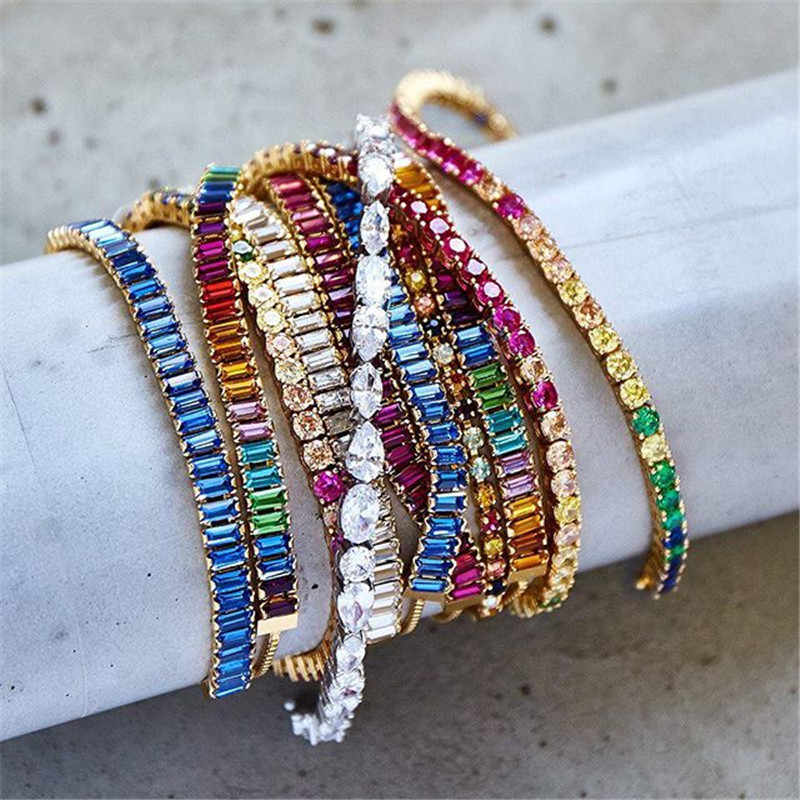 Miwens New Multicolor Bright Crystal Bracelets For Women Valentine Gift Metal Chains Romantic Shiny Rhinestone Bracelet Jewelry