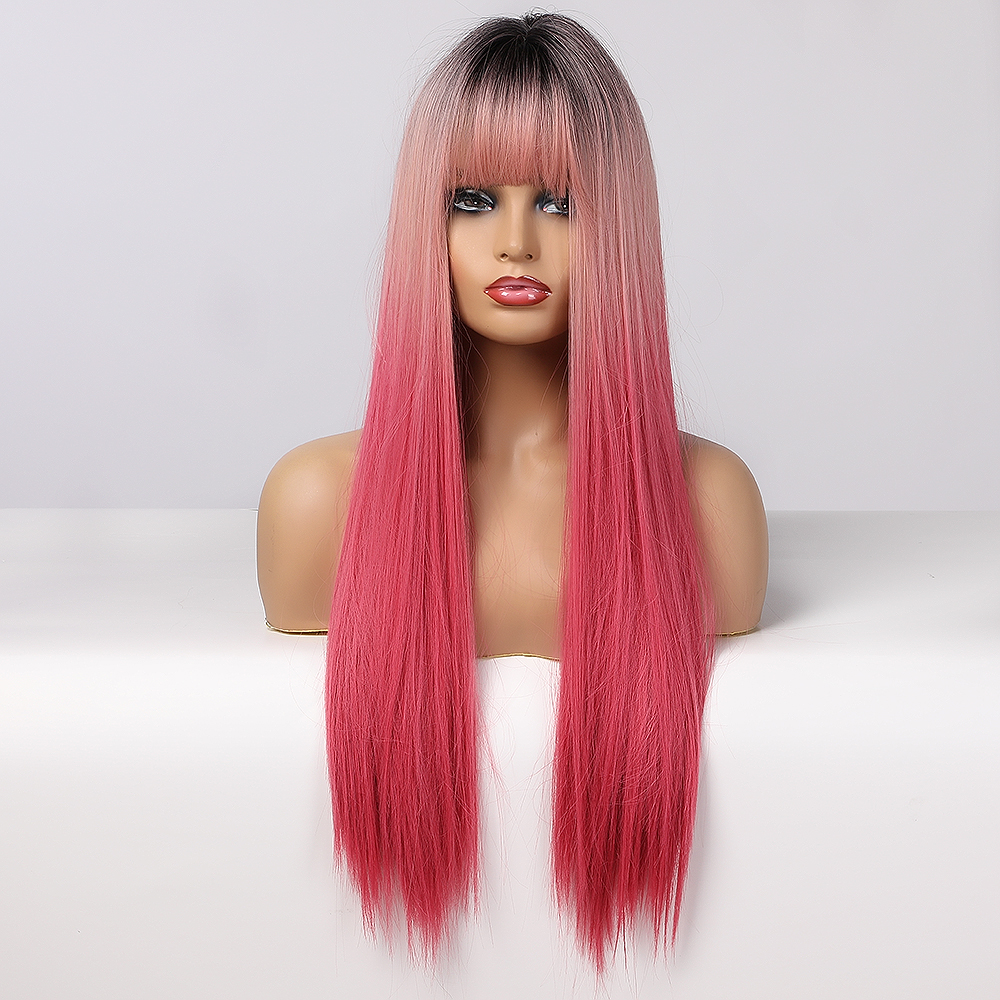 LOUIS FERRE Black Pink Red Wigs Cosplay Long Straight Ombre Synthetic Wig With Bangs for Black Women Afro Heat Resistant Fibre